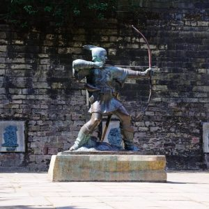 NOTTINGHAM, UK - JULY 17, 2014 - Robin Hood statue gifted to city by businessman Philip EF Clay being unveiled on 24th July 1952 Nottingham Nottinghamshire England UK Western Europe, July 17, 2014.